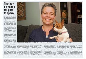News article on pet therapy by Mardi